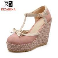 RizaBina Size 32 43 Wedges Sandals T Strap Ankle Buckle Bowtie High Heels Shoes Women Platform Classics Ladies Daily Footwear