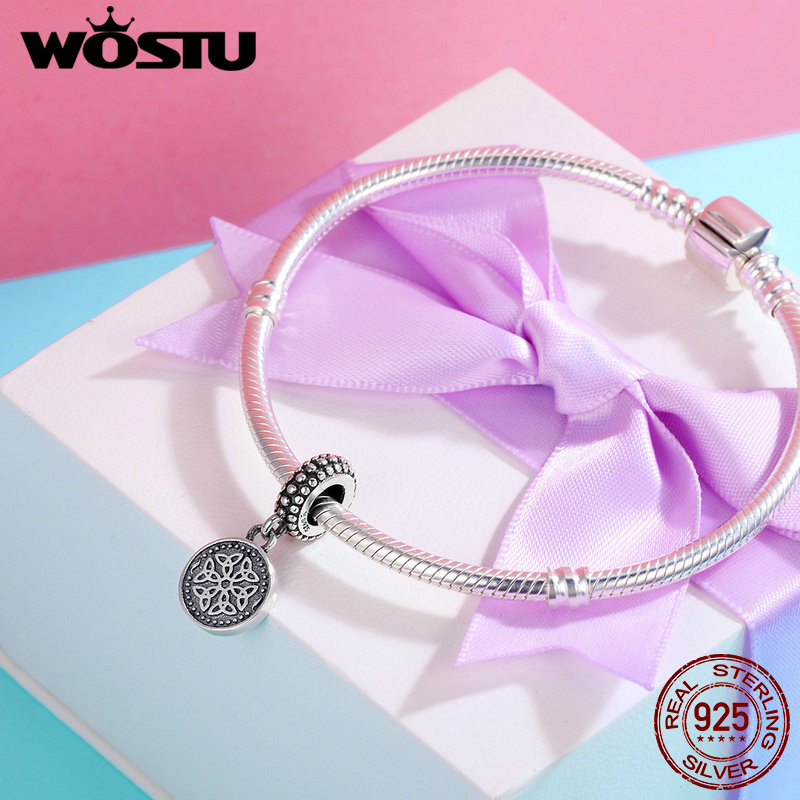 WOSTU Vintage 925 Sterling Silver Symbol Of Life Beads fit original WOST Charm Bracelet Fine Jewelry Gift BKC284