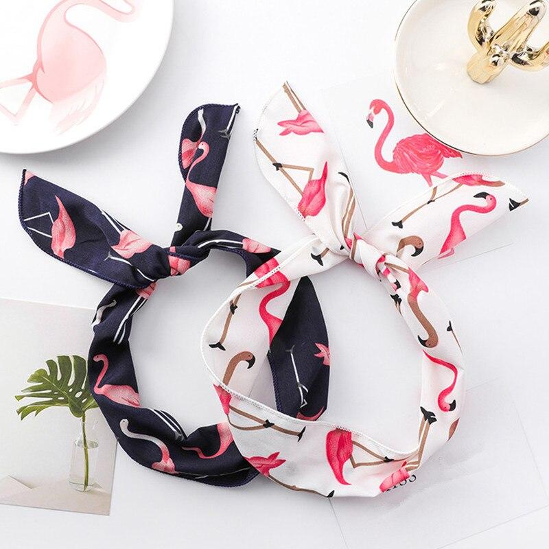 1Piece Women Flamingos Cartoon Rabbit Ears Wash Headband Print Bowknot Hairbands Fabric Iron Wire Fashion Headwear Accessories