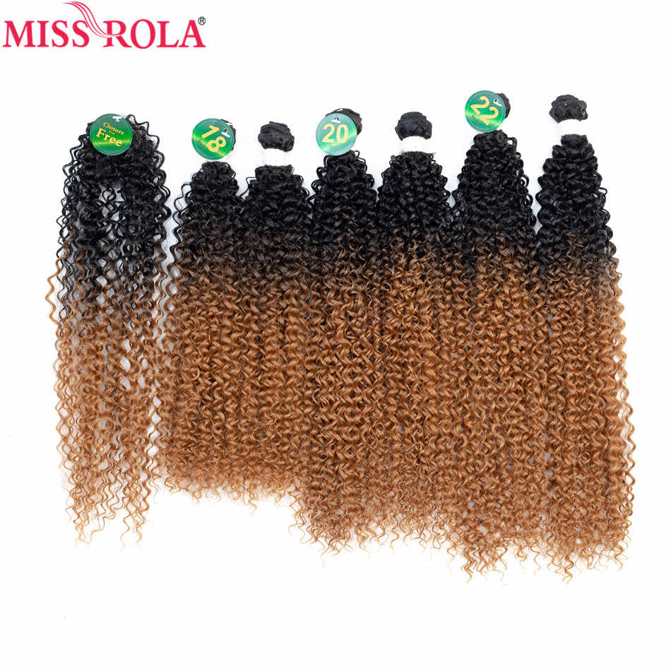 Miss Rola Ombre Hair Bundles Synthetic Curly Hair Bundles Extensions 18-22 inch 6pcs/Pack With Free Closure Full Head Hair Wefts