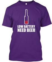 Rude T Shirts Crew Neck Short-Sleeve Summer Low Battery Need Beer  Tee Shirt For Men