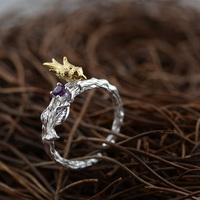 GZ 925 Sterling Silver Ring Handmade Bird Purple Zircon Anillos S925 Thai Silver Rings For Women