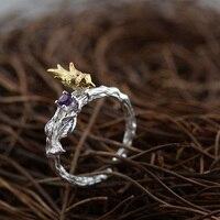 GZ 925 Sterling Silver Ring Handmade Bird Purple Zircon Anillos S925 Thai Silver Rings For Women