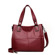 Luxury Brand Women Leather Handbag 100% Genuine Leather Casual Tote Bags Soft Sheepskin Female Big Shoulder Bag shaggy deer 37cm mid top quality genuine leather 100% soft sheepskin fala stella shopping tote luxury classical chain bag