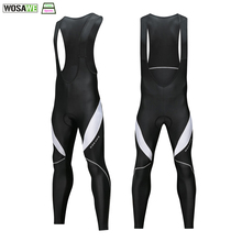 WOSAWE Warm Up Cycling Bib Trousers 3D Gel Padded Cycling Long Leggings Bicycle Bib Tights Winter Thermal Pro Cycling Pants