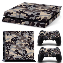 grey Camouflage Camo Vinyl Sticker For Sony Playstaion 4 Console PS4 Skin Stickers +2Pcs Controller Protective Skins