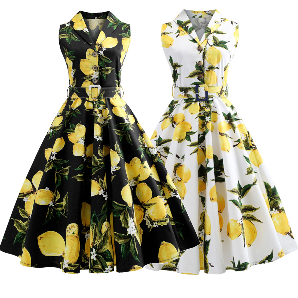 1d555229009 Kenancy Plus Size Lemon Print Summer Vintage Dress Turn Down Belts Button Women  Retro Dress Elegant