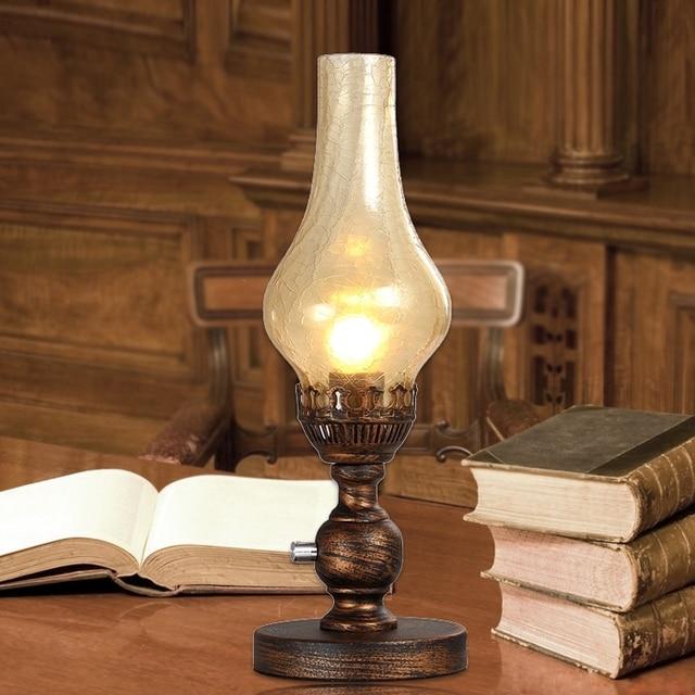 European vintage kerosene table lamp for bedroom studyfrosted glass european vintage kerosene table lamp for bedroom studyfrosted glass lamp shade retro bedside lamp mozeypictures Images