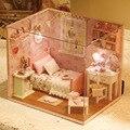 QUARTO BONITO Feito À Mão Boneca Em Miniatura de Móveis casa de bonecas DIY casa de Boneca Brinquedos De Madeira Para Crianças Adultos Presente de Aniversário H-002