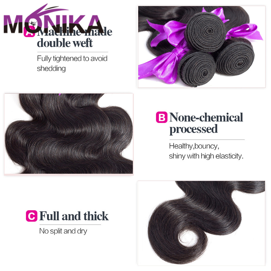 Monika Mongolian Human Hair Bundles With Closure Body Wave Lace Frontal Closure With Bundles Non Remy 100% Human Hair Extensions (5)