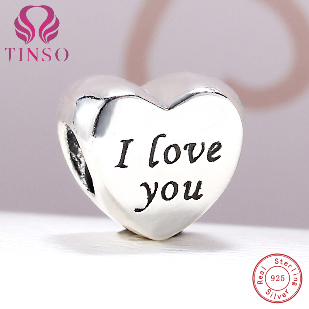 100% Authentic 925 Sterling Silver I Love You Charm Beads Fit Pandora Charm Bracelet DIY Original Silver Fashion Jewelry