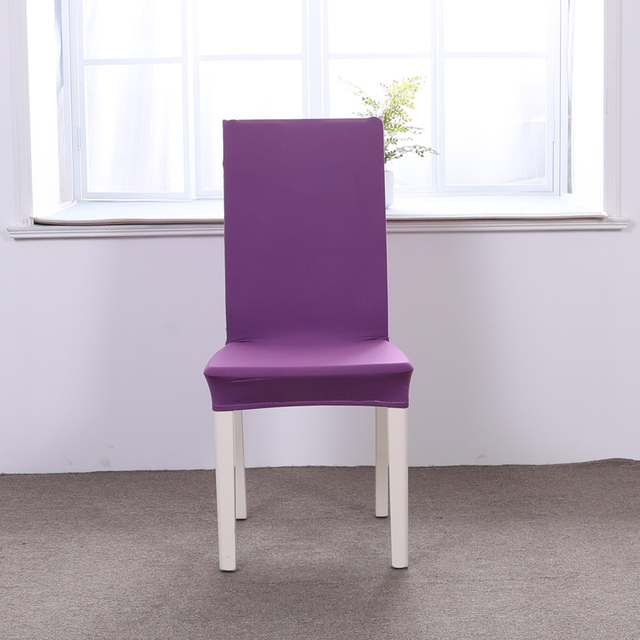 Dining Chair Covers Aliexpress Inflatable Fishing Purple Solid Color 1pcs Stretch Home Decor Cover Spandex Decoration Covering Office Banquet Hotel Soft