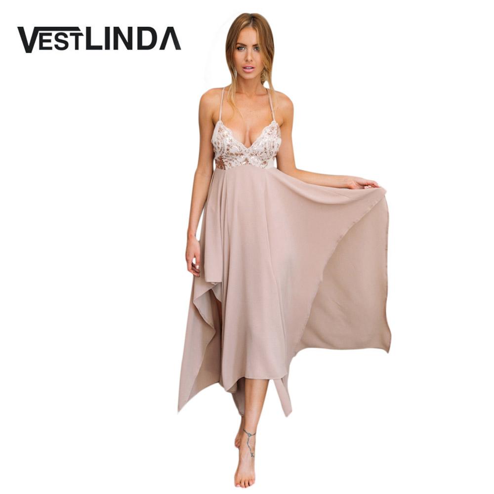 VESTLINDA Sexy Club Dress Women Summer Dresses Spaghetti Strap Sequins V Neck Backless Vestido De Festa Asymmetrical Maxi Dress 1
