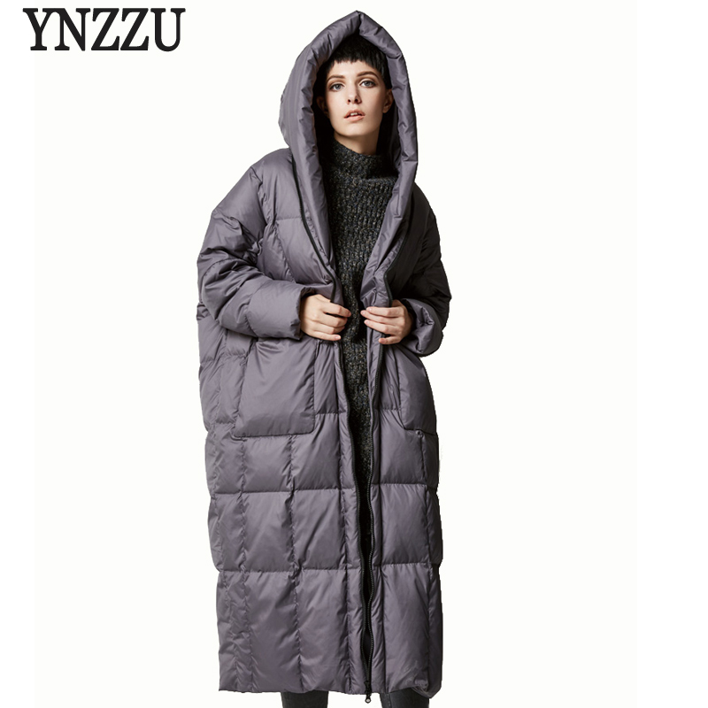 YNZZU Brand New Winter Women Long Down Jackets Casual Loose Duck Coats with Hooded High Quality Woman Coat AO305
