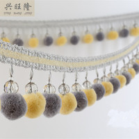 New 6M Lot Crystal Beads Pompon Curtain Lace Accessories Tassel Fringes Trim Ribbons DIY Sofa Cloth
