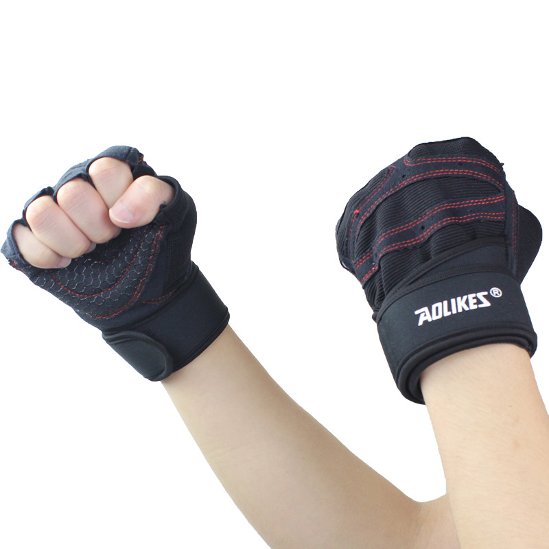 Sports Harf Finger font b Gloves b font Fitness Exercise Dumbbell Weight Lifting Training Gym Breathable