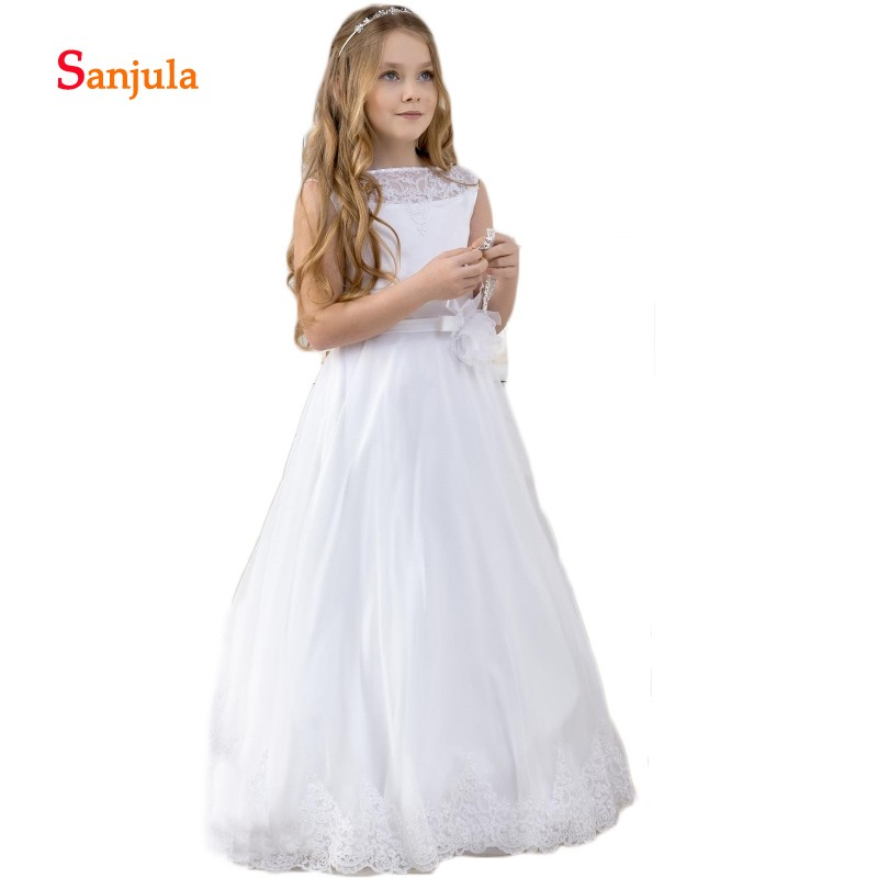Tank A-Line Lace First Communion Dresses Waist Flowers Charming Flower Girls Wedding Party Dresses robe soiree fille D172