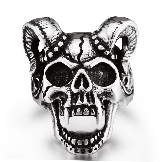 black enamel rams horn skull wedding bands rings for men wedding - Skull Wedding Rings For Men