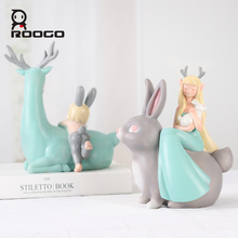 ROOGO resin cute animal figurines home decoration creative ornament deer and rabbit statue table cabinet bedroom decor sculpture vilead 6 resin rabbit deer glasses bracket figurines creative animal glasses stand ornament elk reindeer model home decor gift