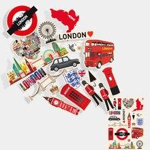 Pegatinas nostálgicas Vintage de Inglaterra de 20 piezas pegatinas de equipaje para maletas pegatinas decorativas impermeables para nevera de ordenador