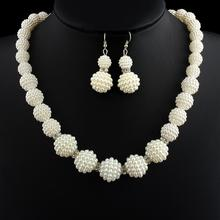 New African Handmade Simulated Pearl Beads Jewelry Set Women Rhinestone Necklace Earrings Mother Party Bridal Wedding Gifts
