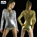 2016 female ds Costume European jazz  jumpsuit Transparent Solid Black Gold Dance wear sexy Hollow out Bodysuit