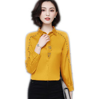 Elegant Office Lady Women Chiffon 2018 New Cool Rivet Blouses Long Sleeve Female Shirts Work Turn