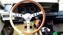 Матовый алюминиевый сплав spoke15 дюймовый 38 см универсальный урожай классический деревянный автомобиль руль с рогом button все ручной работы