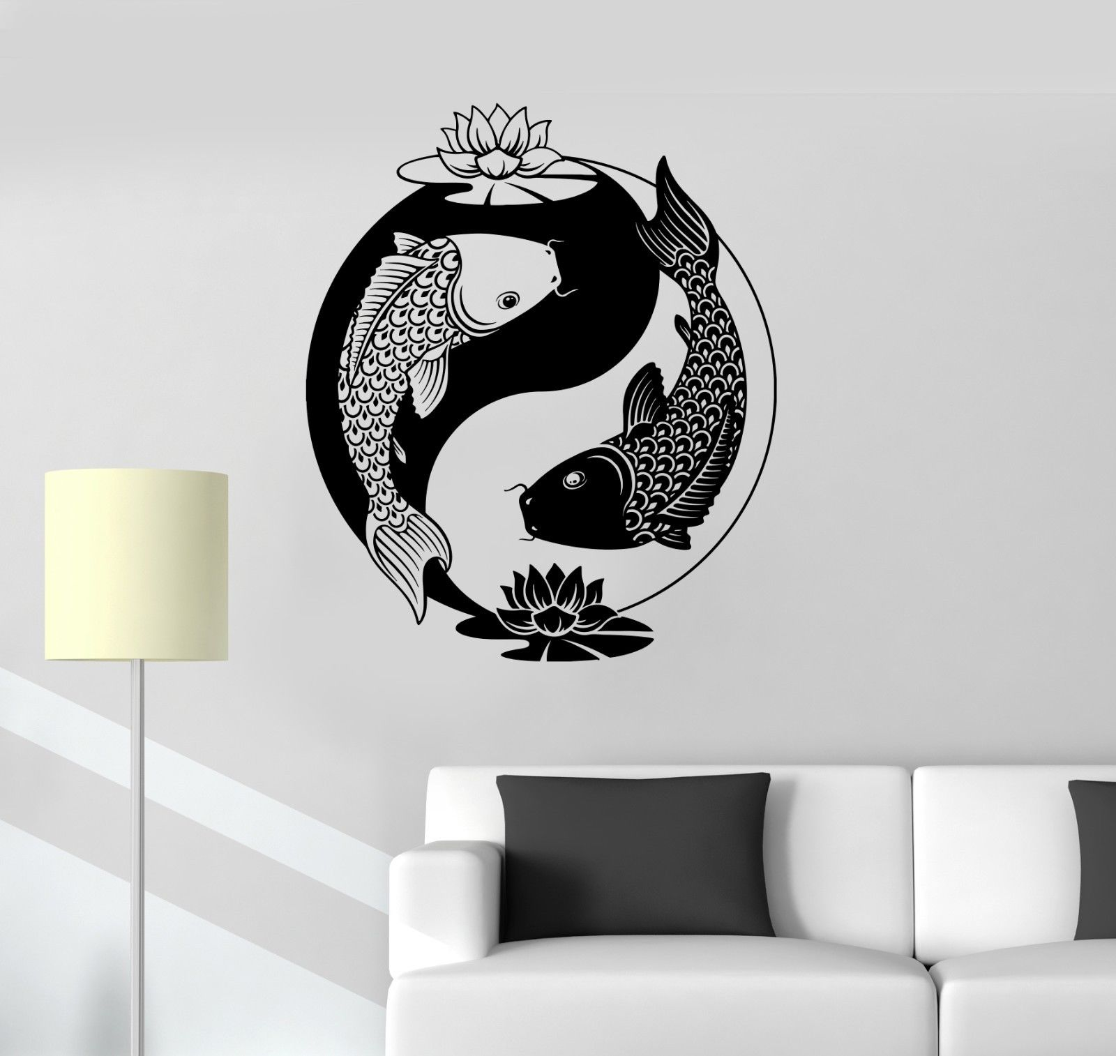 Yin Yang Tai Lotus Chinese Philosophy Zen Fish Vinyl Wall Sticker - Home decor