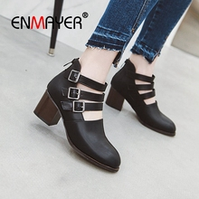 ENMAYER 2019  Basic High Heel  Women Shoes  Square Heel  Round Toe  Casual  Zip Solid Women Pumps Size 34-45 LY1762 enmayer 2019 basic low heel women pumps 3 colors solid women fashion mary jane shoes spring autumn size 34 43 ly1931 page 10 page 7