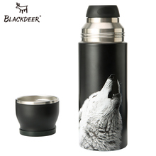 BLACKDEER Outdoor Sports Bottle Thermos Cup With Handle Double Layer 316 Stainless Seel Pixel Animal 3D Tea Water Vacuum Flask