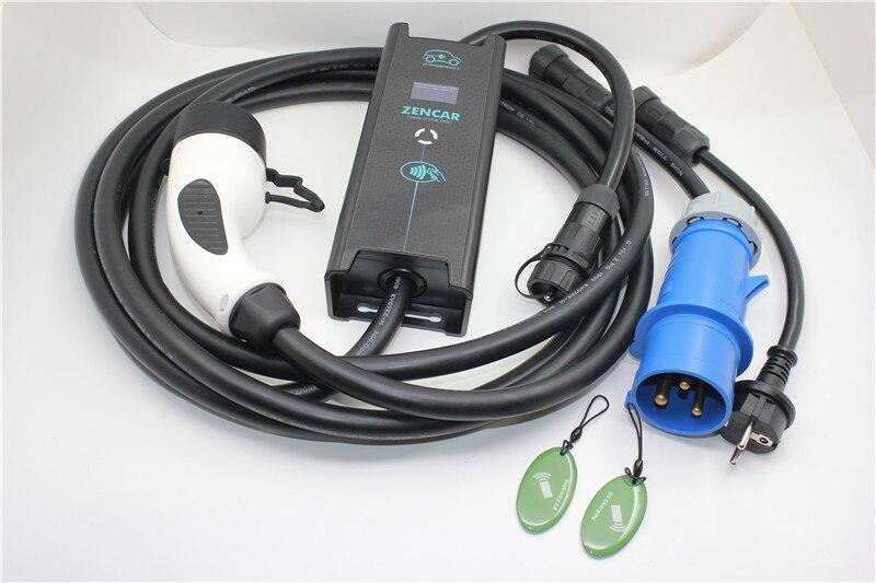 ZENCAR EVSE 10 16 20 24 32A regolabile CEE Schuko adattatore IEC62196 Tipo 2 5 M cavo spina Auto Elettrica ev cavo di Ricarica Duosida
