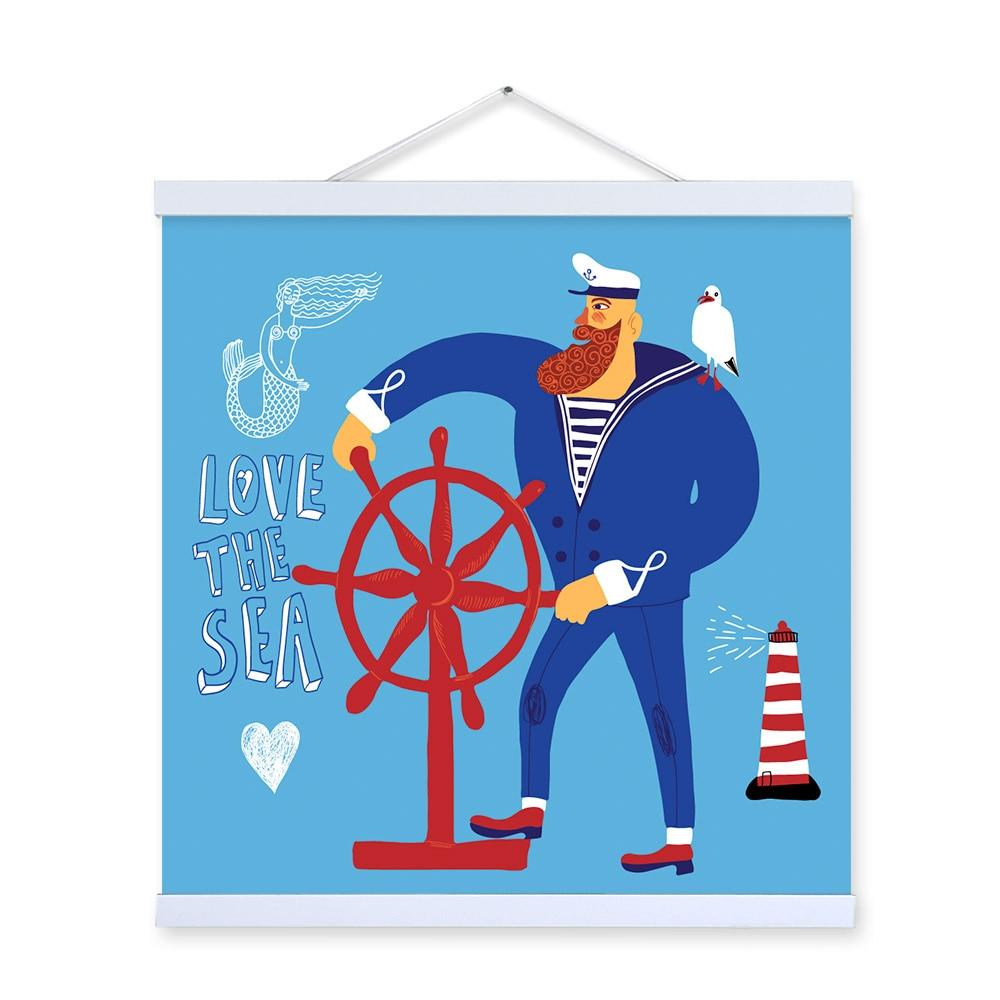 Nordic Cartoon Nautische Leinwand Kunst Poster Drucken Wand Bilder ...