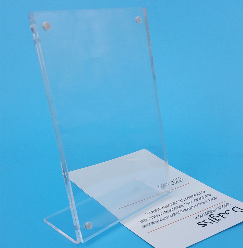 100x150mm Clear Acrylic Advertising Sign Display Paper Card Table Label Holder Vertical L Stand With Magnet In Corner 200pcs