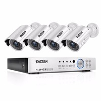 TMEZON 4CH CCTV System 4PCS 720P Outdoor Weatherproof Security Camera 4CH 1080P DVR Day/Night Kit Video Surveillance System