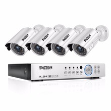 TMEZON 4CH CCTV System 4PCS 720P Outdoor Weatherproof Security Camera 4CH 1080P DVR Day/Night Kit Video Surveillance System