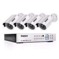 Tmezon HD 4CH 1080P DVR 4Pcs 720P 1200TVL Camera Security Surveillance CCTV System Outdoor Waterproof Auto Night Vision HDD Kit