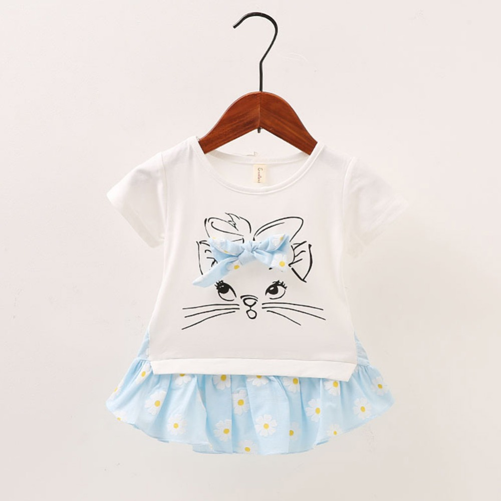 TWTJB Baby Girls Dress Cartoon And Floral Pattern False Two Piece Bow Decoration Patchwork Baby Cute Children Shirt Dress