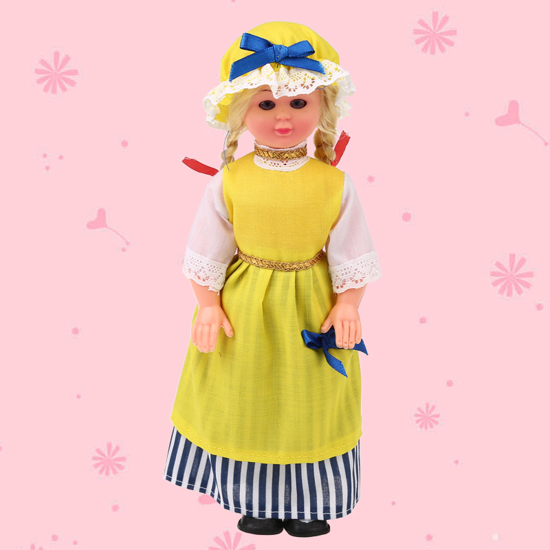 Yellow Vivid Cute Baby Ethnic Dolls 9.5inches French Girls Clothes Dolls Nationality Toys Children's Best Gift For Kids 1009-005