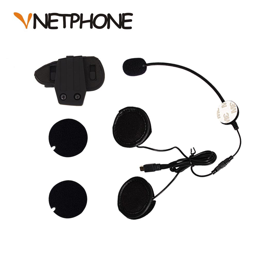 2017 Real Casco Mini Usb Jack Mikrofon Speaker Headset Dan Helmet Intercom Klip untuk Alat Bluetooth Motosikal Vnetphone V8