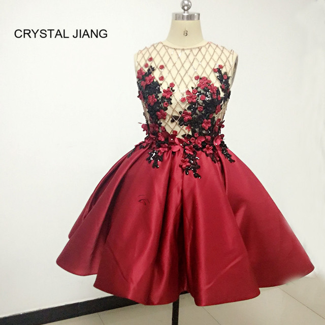 Hot Sale 2019 Real Samples Jewel Collar Delicate Handmade Flowers Beaded Wine Red Satin Short Arabic Style Cocktail Dresses