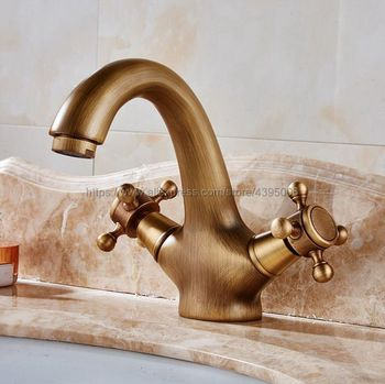 цена на Bathroom Basin Faucet Antique bronze finish Brass Sink Faucet Double Handle Vessel Sink Water Tap Mixer Bnf035