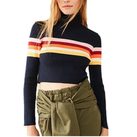 2017 Autumn Winter Fashion Women S Turtleneck Collar Striped Sweaters Knited Pullover Splicing Sweaters For Men