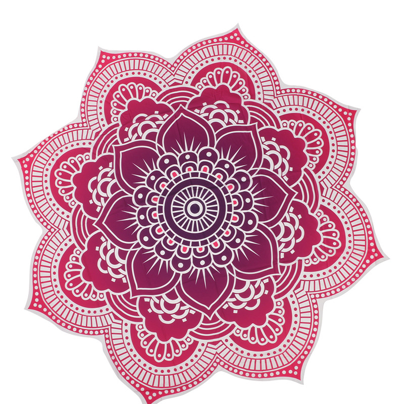 Round Beach Mat Indian Mandala Tapestry Beach Hike Picnic Blanket Yoga Mat  Bohemian Outdoor Accessories Carpet