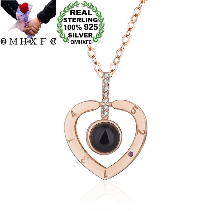OMHXFC Wholesale European Fashion Woman Party Gift Heart Love Projecting Zircon 100% S925 Sterling Silver Pendant Necklace CH03OMHXFC Wholesale European Fashion Woman Party Gift Heart Love Projecting Zircon 100% S925 Sterling Silver Pendant Necklace CH03