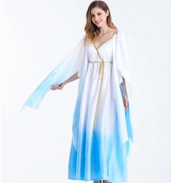 halloween cosplay greek goddess costume aqua blue fairy
