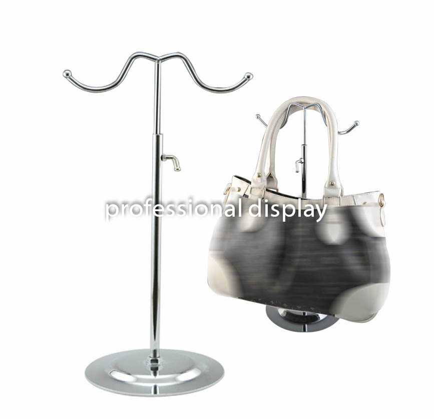 Furniture Living Room Furniture Silver Black Double Hook Women Bag Display Rack Holder Adjustable Wig/silk Scarf/purse/handbag Display Stand Metal Baking Paint