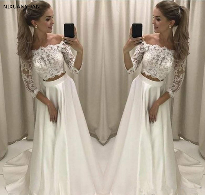 2019 New Designed Two Pieces Wedding Dress Princess Lace Top Off Shoulder Country Reception Bridal Gown Plus Size Wedding Gown