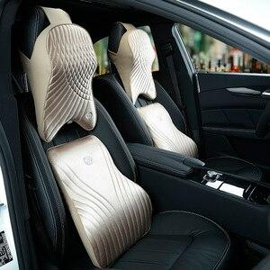 Image 3 - Memory Foam Cotton Car Headrest Neck Pillow Imitation Silk Fabric Waist Lumbar Support Sets Cushion For Auto Seat Accessories