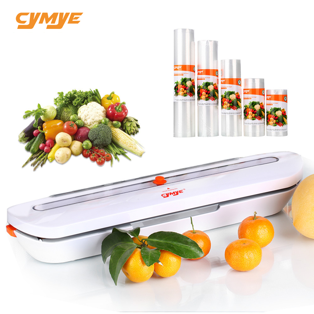 CYMYE Food Saver Vacuum Sealer QH02 + 5 Pcs Plastic Roll 220V Including 10 Bags Can Be Use For Food Saver Sous Vide